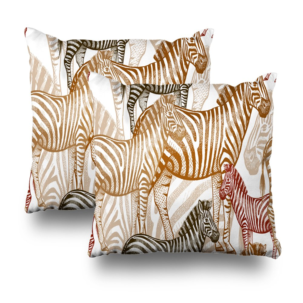 Soopat Decorativepillows Covers 18''x18'' set of 2, Two Sides Printed African Animals Colored Zebra OnWhite Create Fabric Wall iles Curtains Summer Clothes The Safari Throw Pillow Cases