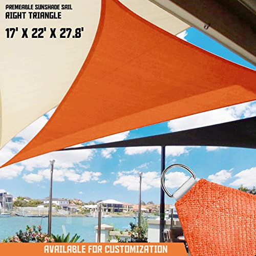 TANG Sunshades Depot Sun Shade Sail Right Triangle Permeable Canopy Custom Commercial Standard Orange 17 x22 x28 180 GSM