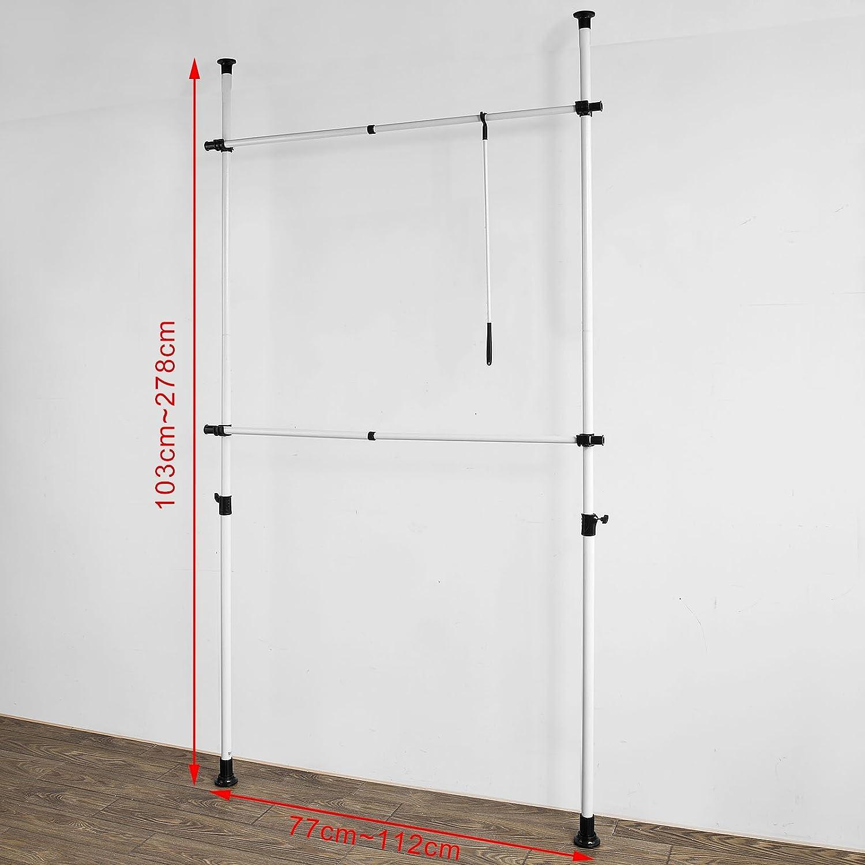 SoBuy FRG109, ES Perchero Extensible,Perchero Telescópico,(77-112 x 103-278 cm), Metal y Plástico, Color Negro+Blanco