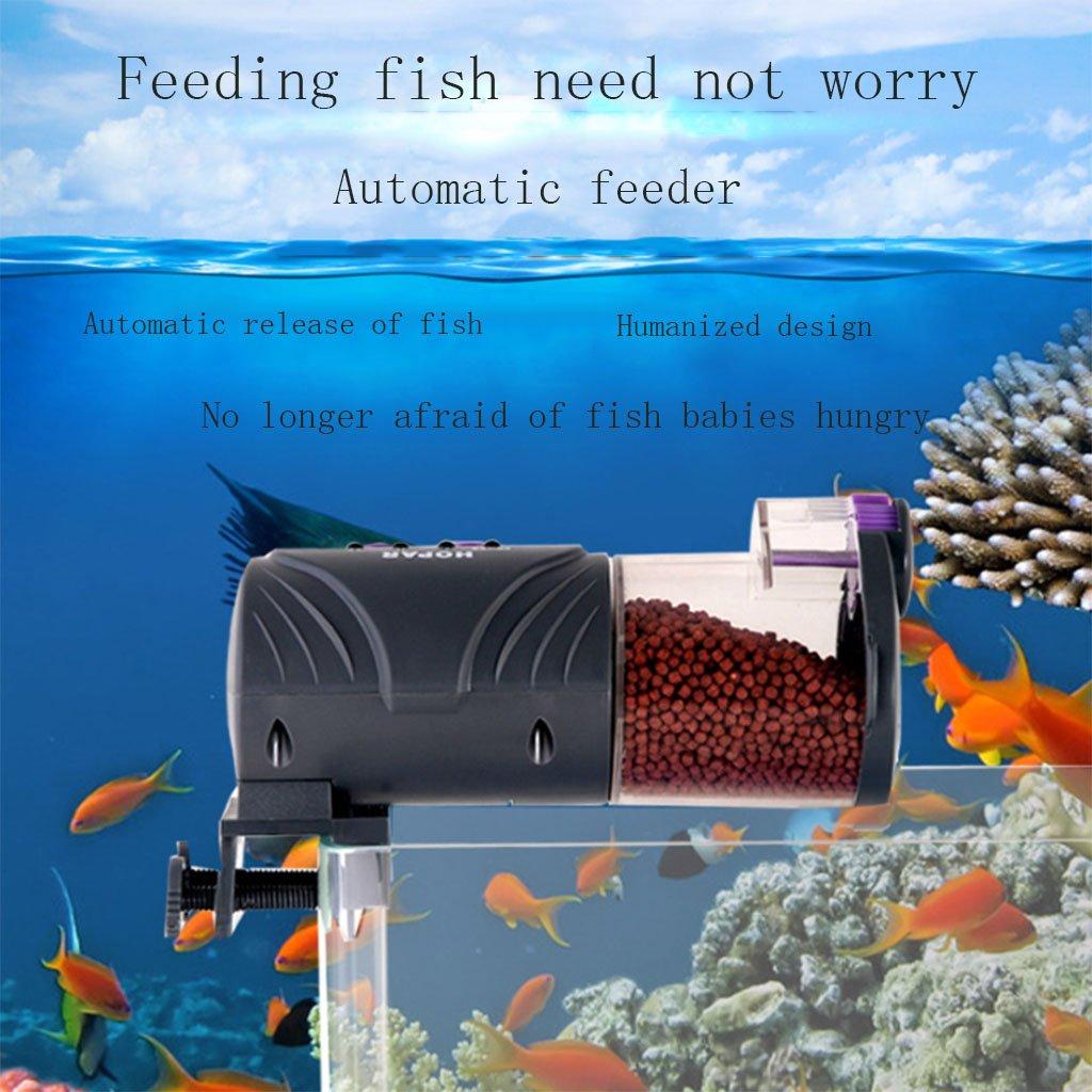 LFF.FF Alimentatore Acquario Alta Capacità orofish Koi Alimentatore Acquario Intelligenza Sicurezza Affidabile,nero