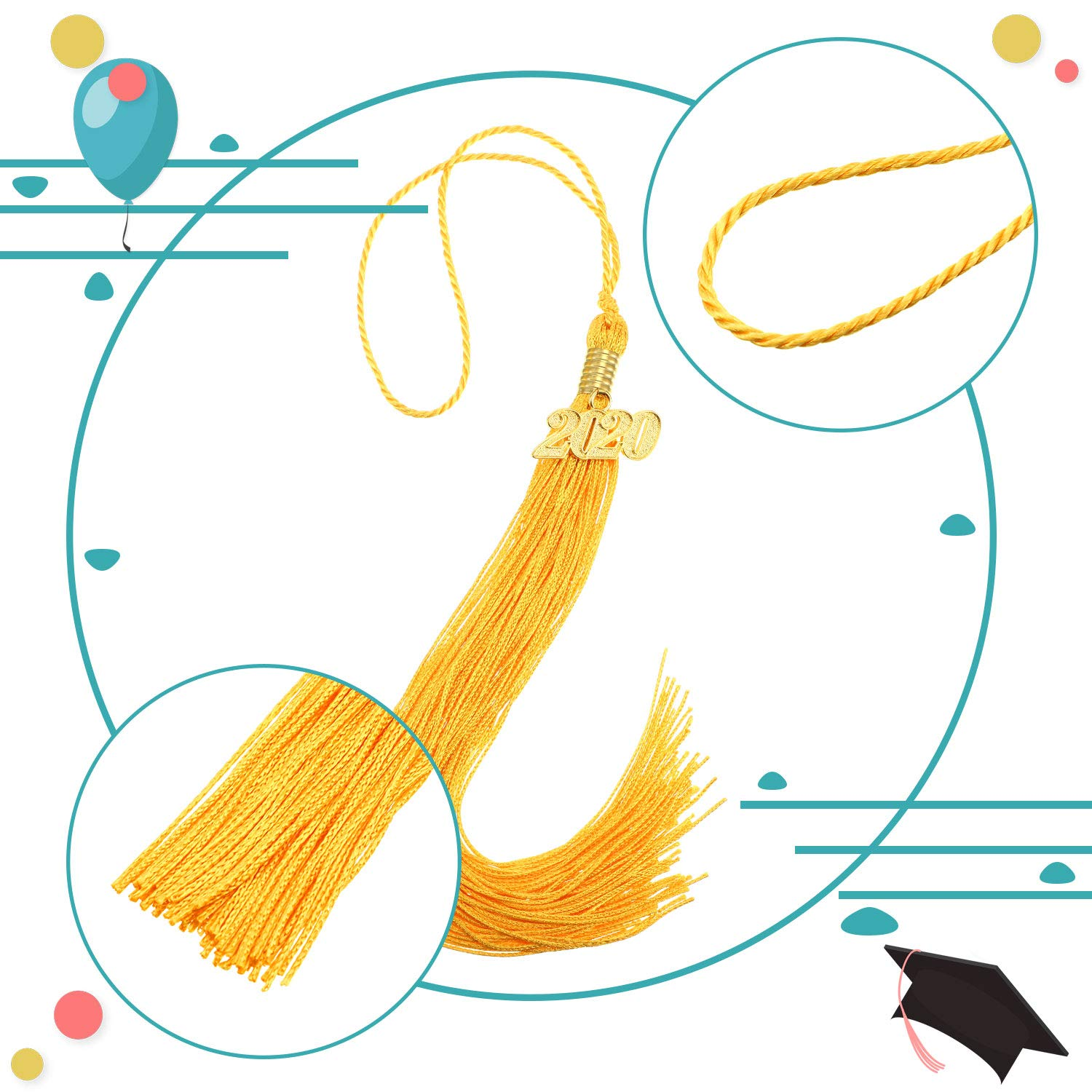 Hicarer 6 Pieces Graduation Tassels with 2020 Year Gold Date Pendants Colorful Graduation Cap Tassels for Graduation Parties Blue and Gold