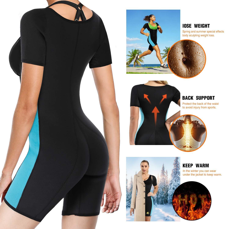 d906603aa4 NonEcho Women Sauna Sweat Suit for Weight Loss Waist Trainer Shirt Full Body  Shaper Sports Fat Burners Neoprene Slimming Shapewear  Amazon.co.uk  Sports    ...