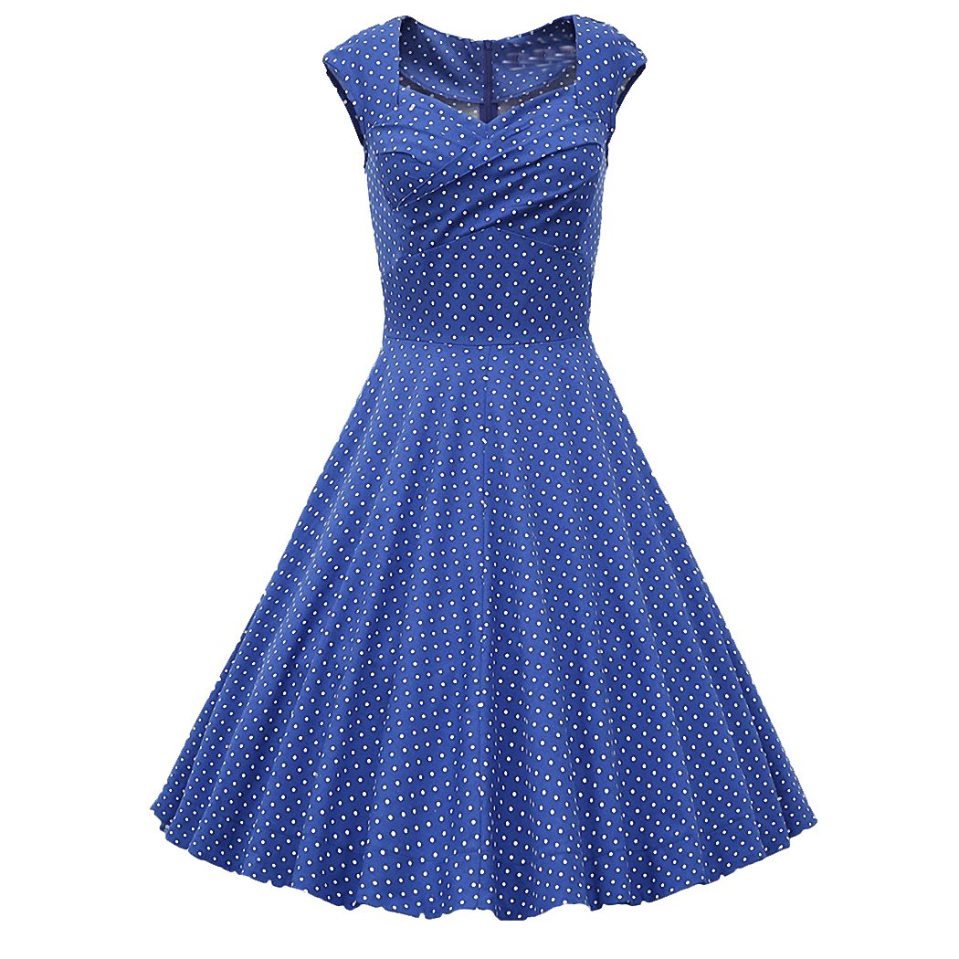 Hepburn Style 1950's Polka Dot Rockabilly Swing Evening Pinup Prom Retro Dress(size:M, Light Grey) Voguestorm VS-8010