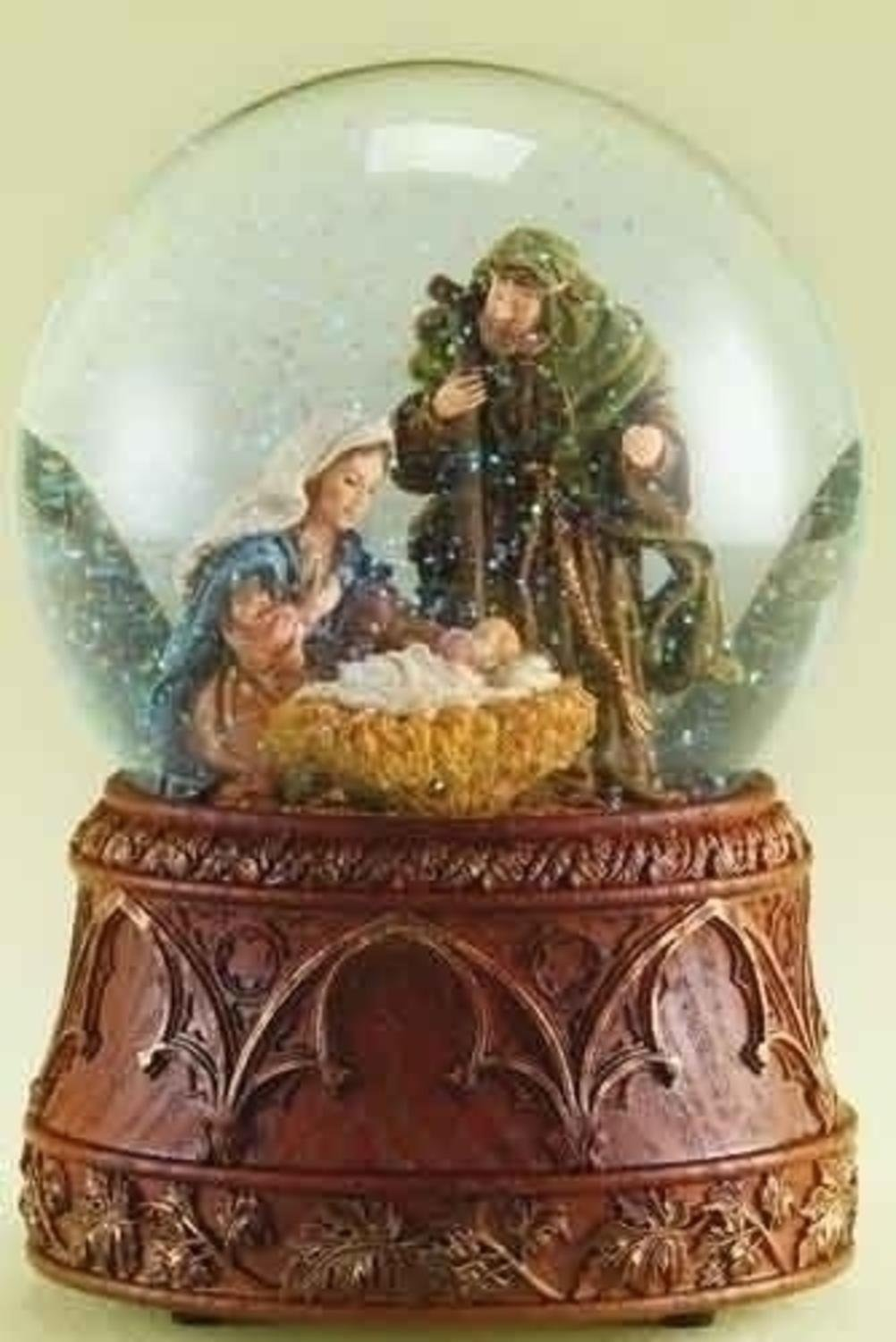 Set of 2 Brown and Clear Musical Nativity Scene Christmas Dome 6.5''