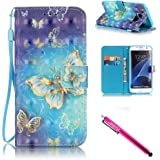 Galaxy S7 edge Case, Firefish Kickstand Flip [Card Slots] Wallet Cover Double Layer Bumper Shell with Magnetic Closure Strap Case for Samsung Galaxy S7 edge-Butterfly