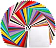 """Vinyl Sheets, Ohuhu 70 Permanent Adhesive Backed Vinyl Sheets Set, 60 Vinyl Sheets 12"""" x 12"""" + 10 Transfer Tape Sheets, 30 Color Sheet for Birthday Party Mother's Day Decoration, Sticker, Craft Cutter"""