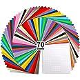 """Vinyl Sheets for Cricut, Ohuhu 70 Permanent Adhesive Backed Vinyl Sheets Set, 60 Vinyl Sheets 12"""" x 12"""" + 10 Transfer Tape Sh"""