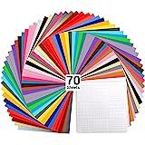 "Vinyl Sheets, Ohuhu 70 Permanent Adhesive Backed Vinyl Sheets Set, 60 Vinyl Sheets 12"" x 12"" + 10 Transfer Tape Sheets, 30 Co"