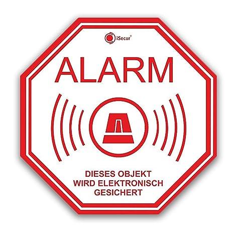 3 pegatinas Alarma, isecur, alarmgesichert, 10 x 10 cm, art ...