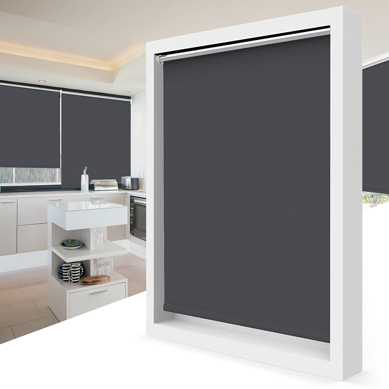 BelleMax 100% Blackout Roller Blind Thermal Trimmable Fabric and Easy Install With No Drilling - Cream 45 x 160 cm