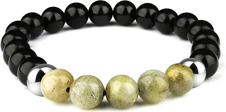 Dorje Jewellery Pulsera de Turmalina Negra de Cuentas de 8 mm con Piedras Preciosas para Hombre y Mujer (Unisex)