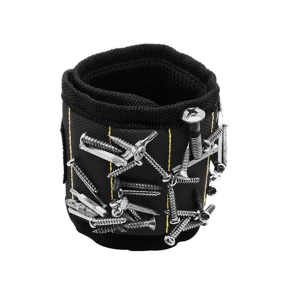 Pawaca Pulsera magnética ajustable con fuertes imanes para sujetar tornillos/clavos/pernos/brocas la mejor herramienta, perfecto para reparación automática ...