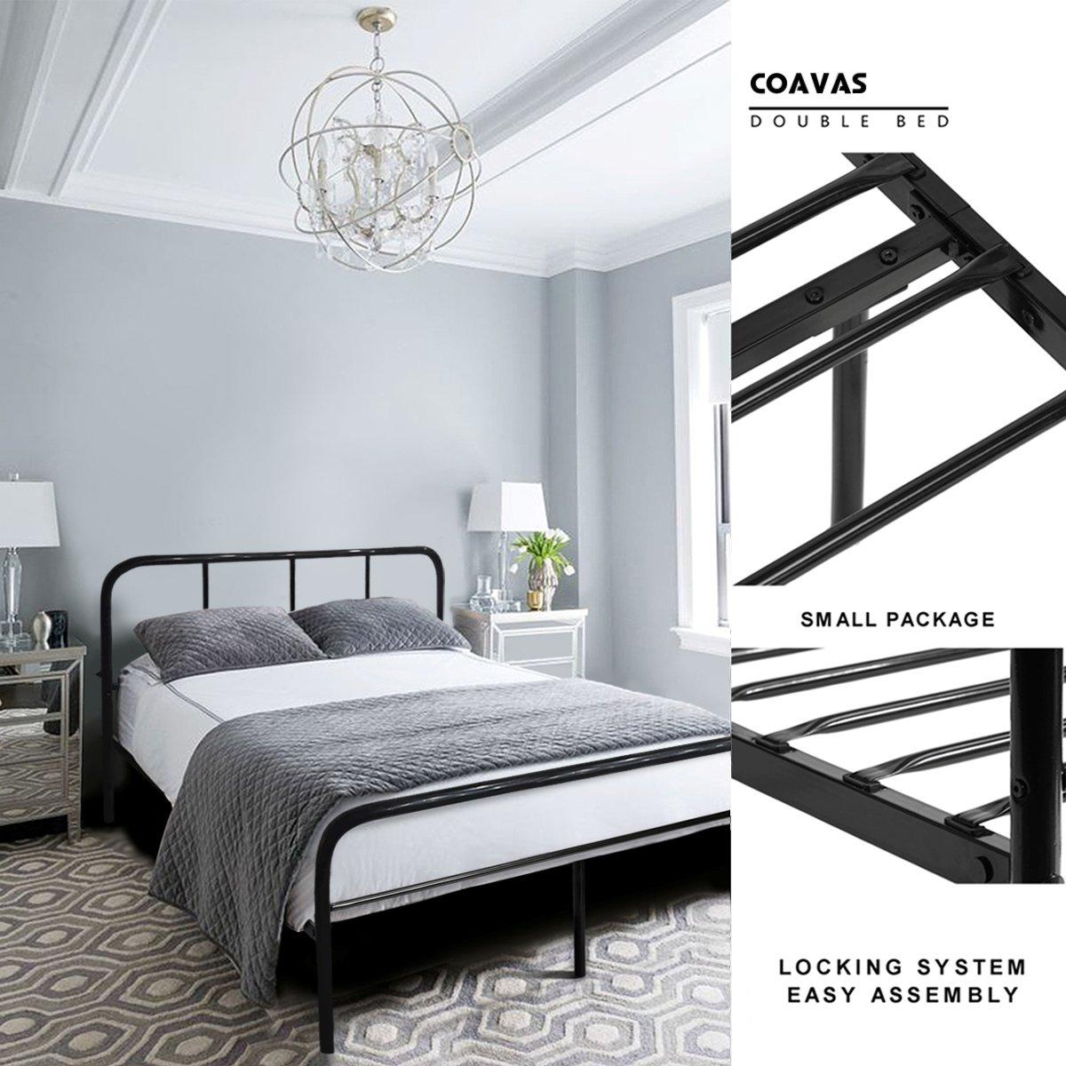 Marco de cama de metal Coavas 4 pies 6 doble Queen Size base de ...