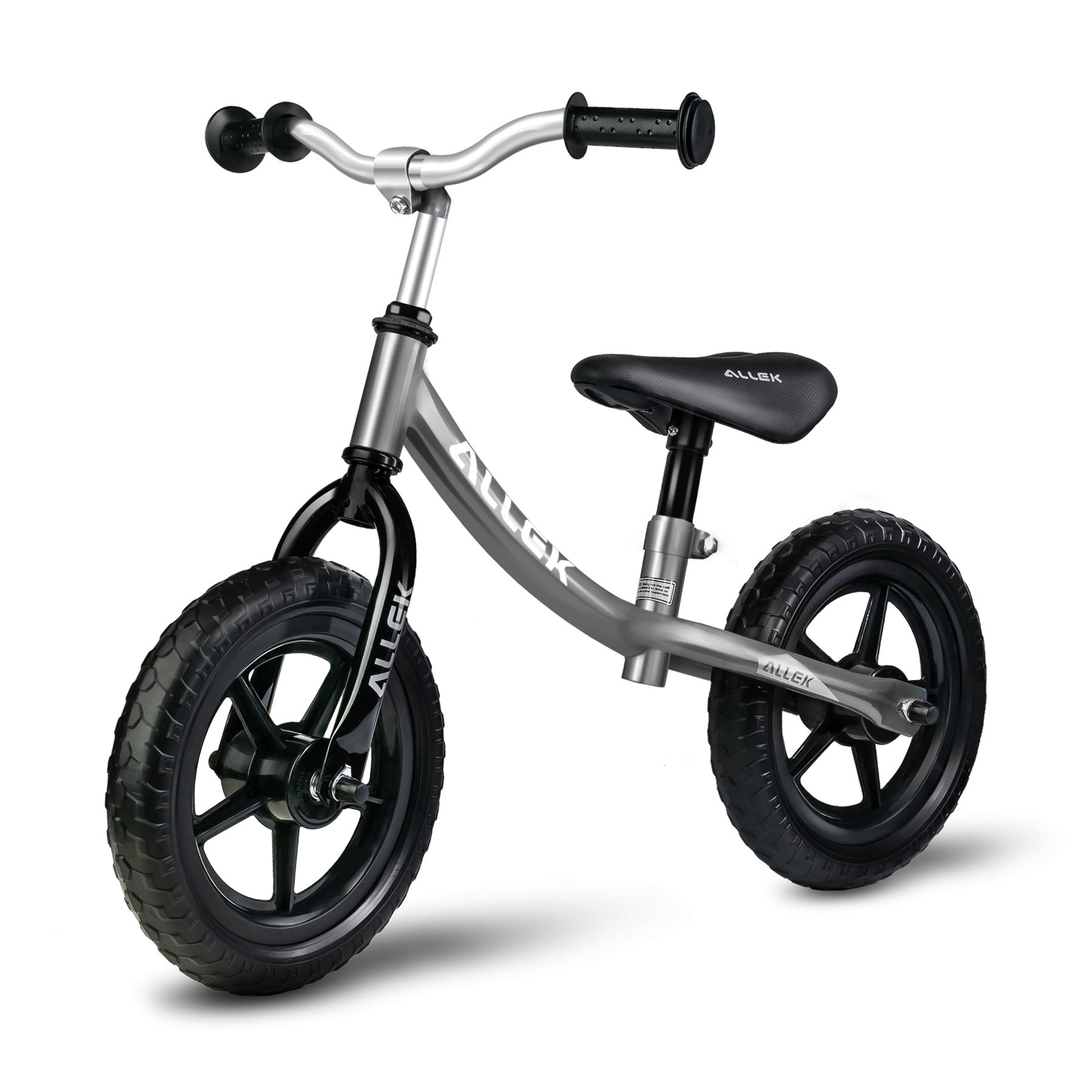 Allek Balance Bike for Kids & Toddlers, 12'' No-Pedal Balance Bike for Kids Boys Girls- Perfect for Balance Training Your 18 Month to 6 Years Old Child (Silver)