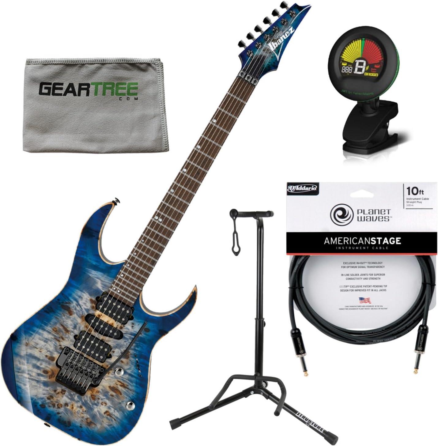 Ibanez rg1070pbzcbb RG – guitarra eléctrica azul celeste Burst W/funda, gamuza, soporte, sintonizador, y Premium Cable: Amazon.es: Instrumentos musicales