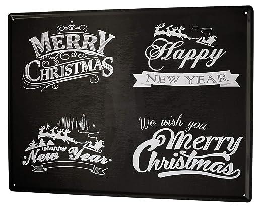 Cartel Letrero de Chapa Navidad Feliz Navidad: Amazon.es: Hogar