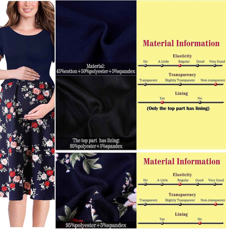 VFSHOW Womens Mama Maternity Nursing Peplum Pleated Work Casual A-Line Dress