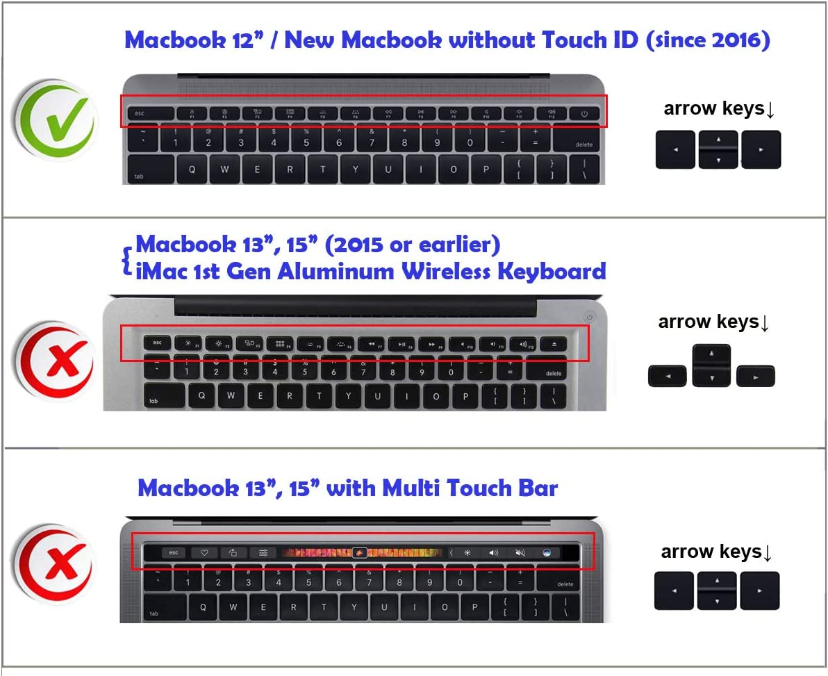 US/&EU Common Version XSKN Shortcut/ MAC OS X/ Keyboard/ Skin/ Cover for/ Apple New MacBook Pro 13 Model A1708 /& Apple MacBook 12 Model A1534 Released Since 2016, no Touch Bar