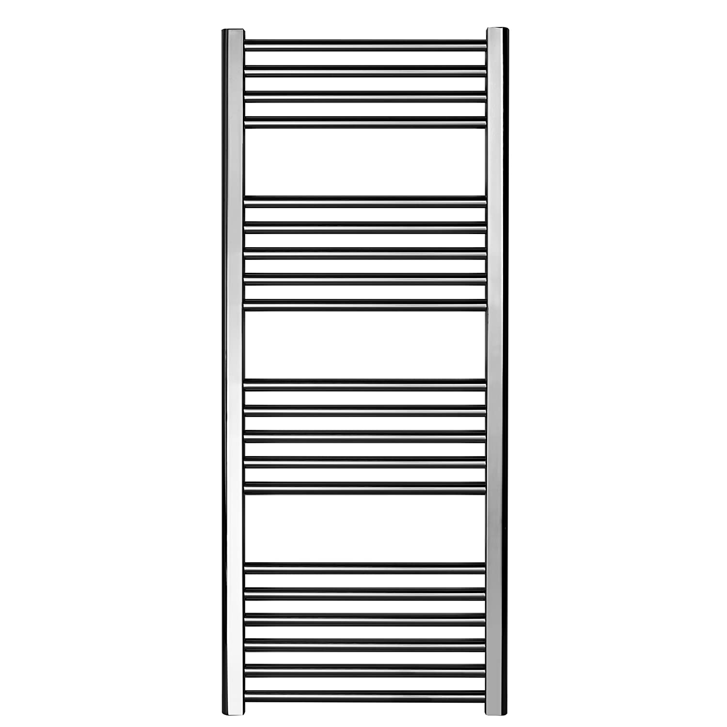 Greened House Chrome Straight Electric Heated Towel Rail 400mm wide x 1200mm high