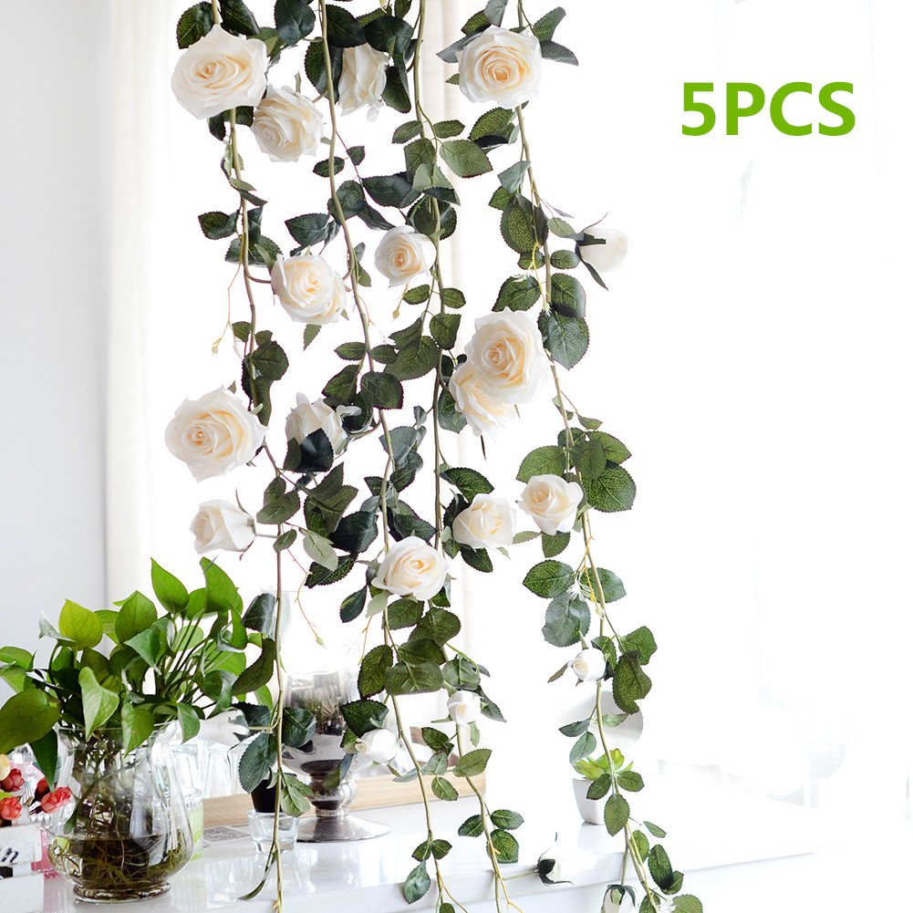 Fake Creamy Rose Vine Garland, Pack of 5 Artificial Flower, Decorative Hanging Emulational Plant for Hotel/Wedding/Home/Party Garden Craft Art Decor