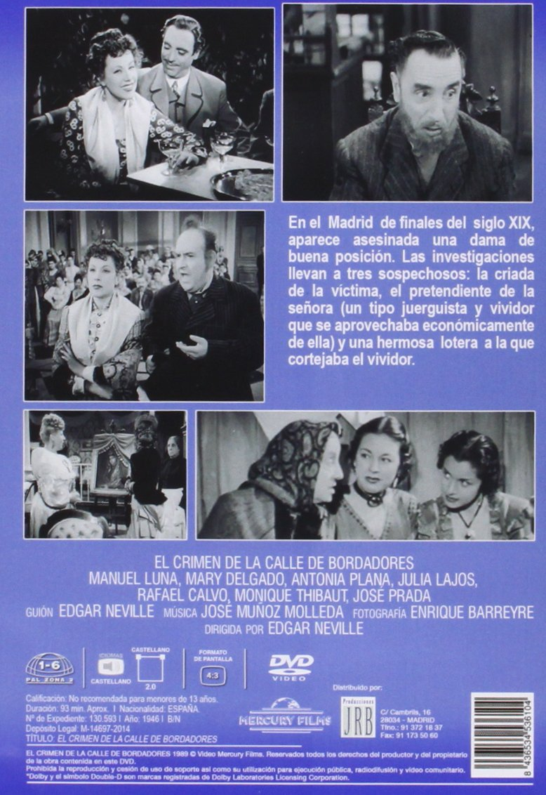 Amazon.com: EL CRIMEN DE LA CALLE DE BORDADORES - Region 2 - PAL format - Spanish only: Movies & TV