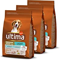 Ultima pienso para perro Medium-Maxi Light con pollo, pack de 3 x 3 kg - Total 9 kg