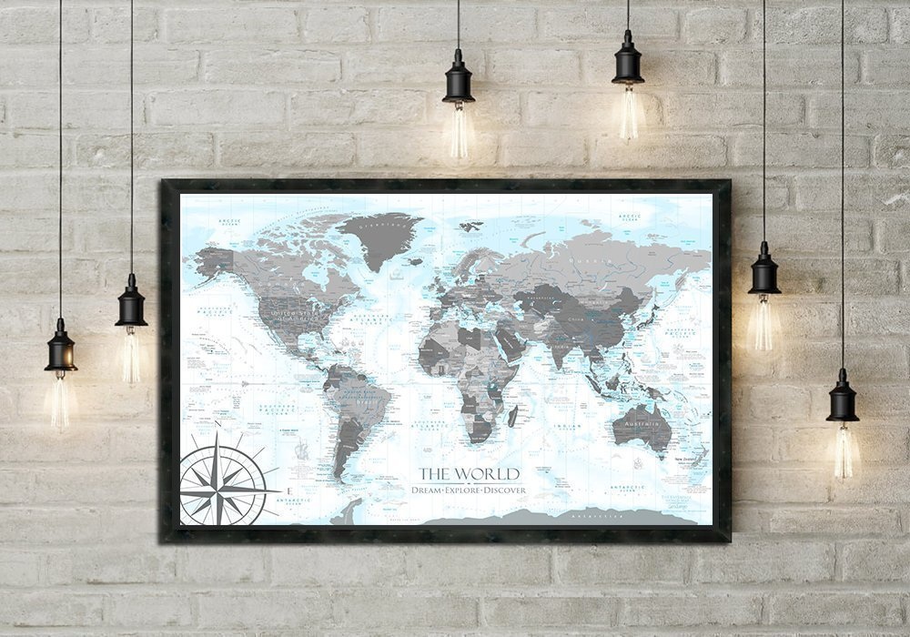 Push Pin World Map in Black and White - with ocean elevations details in light blues - Use as a Wall Map or Push Pin Map - Framed