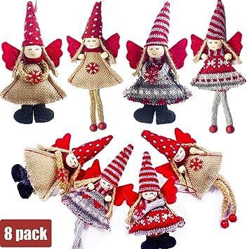 Catrne 8 Piezas de Adornos para el árbol de Navidad Decoraciones Colgantes de Navidad Bola de siembra Forma de Estrella de árbol para la Fiesta de Navidad Decoración para el hogar (rojo-02):