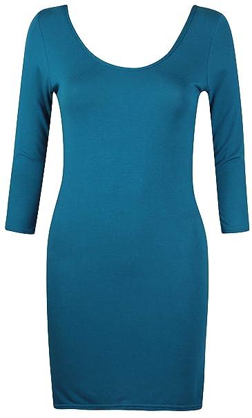 Damen U-Ausschnitt damen Stretch Kurzärmel Bodycon lang einfarbig Tunika T- Shirt Oberteil -