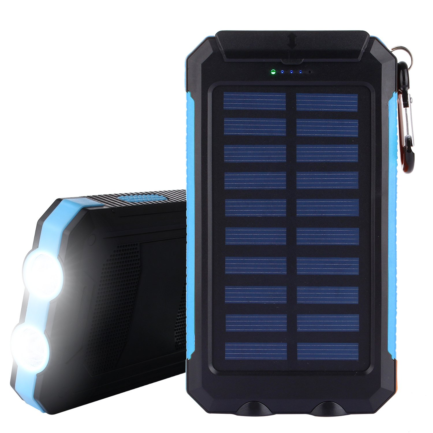 Solar Charger, Solar Power Bank 10000mAh External Backup Battery Pack Dual USB Solar Panel Charger with 2LED Light Carabiner Compass Portable for Emergency Outdoor Camping Travel (Blue)