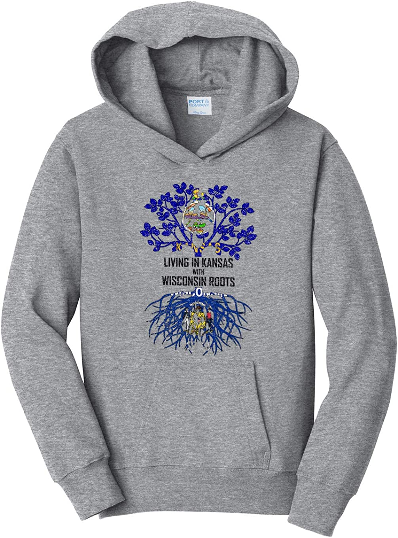 Tenacitee Girls Living in Kansas with Wisconsin Roots Hooded Sweatshirt