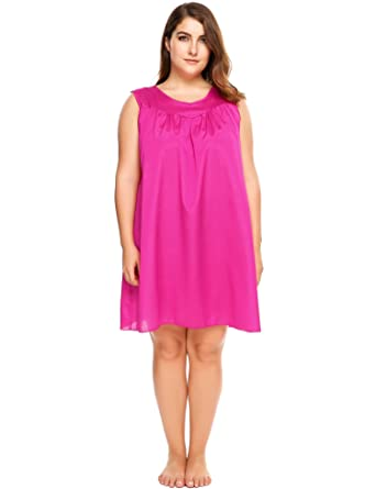 ... ekouaer Womens Plus Size Faux Silk and Lace Sleeveless Nightgown Plus  Size Sleepshirt lowest price 7281a  Nightgowns Womens Cotton ... 965f0343f