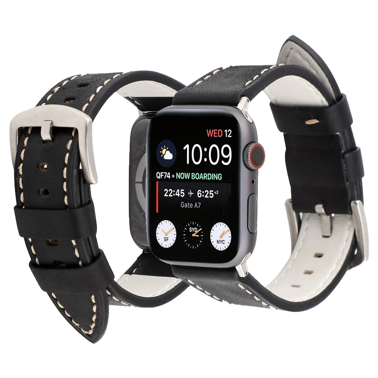7a80d8dfbb86a PENKEY Leather Sports Band Compatible Apple Watch Band 38mm 40mm 42mm 44mm  Vintage Dressy Genuine Denim Leather Strap for iWatch Replacement Series 4,  ...