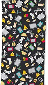 Society6 Gamer Video Game Controllers Fast Food Pattern by Sam Ann Designs on Oversized Beach Towel - Beach