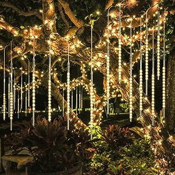 Guirnalda Luces Exterior, 10 Tubo 30cm 300 LEDs IP65 Impermeable luz Navidad, Impermeable Iluminacion Jardin Decorativas Fiestas(Blanco Cálido): Amazon.es: Iluminación