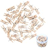 Elcoho 55 Pieces Push Pins with Wooden Clips Thumbtacks Pushpins Clips Tacks Creative Paper Clips with Pins for Photos, Craft Projects, Notes Photos Wall, Bulletin Board Or Cork Boards