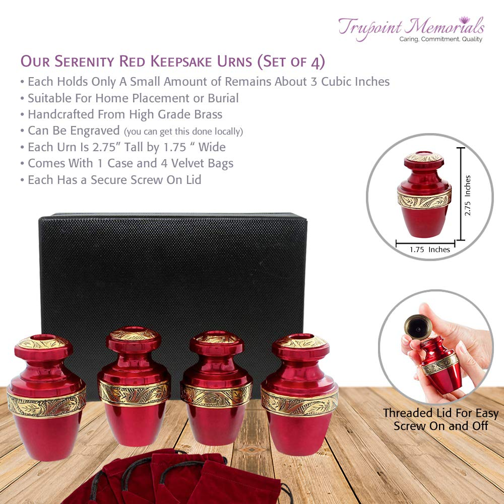 Serenity Red Beautiful Small Mini Keepsake Urn for Human Ashes – Set of 4 – with Satin Lined Case and 4 Pouches