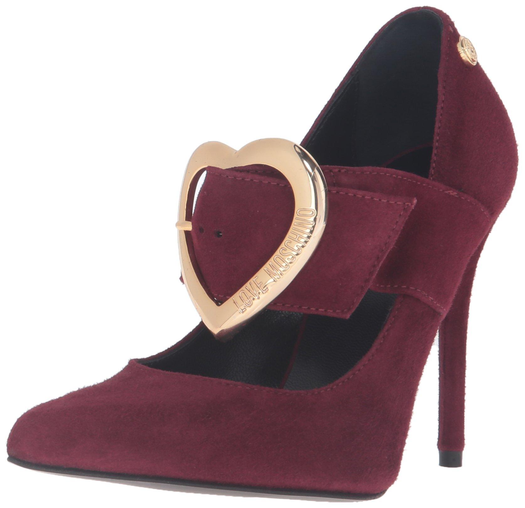 Love Moschino Women's Heel Dress Pump, Oxblood, 37 EU/7 M US