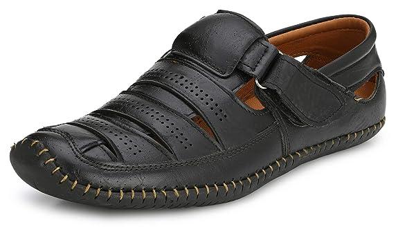 Afrojack Men's Leather Sandals Men's Fashion Sandals at amazon