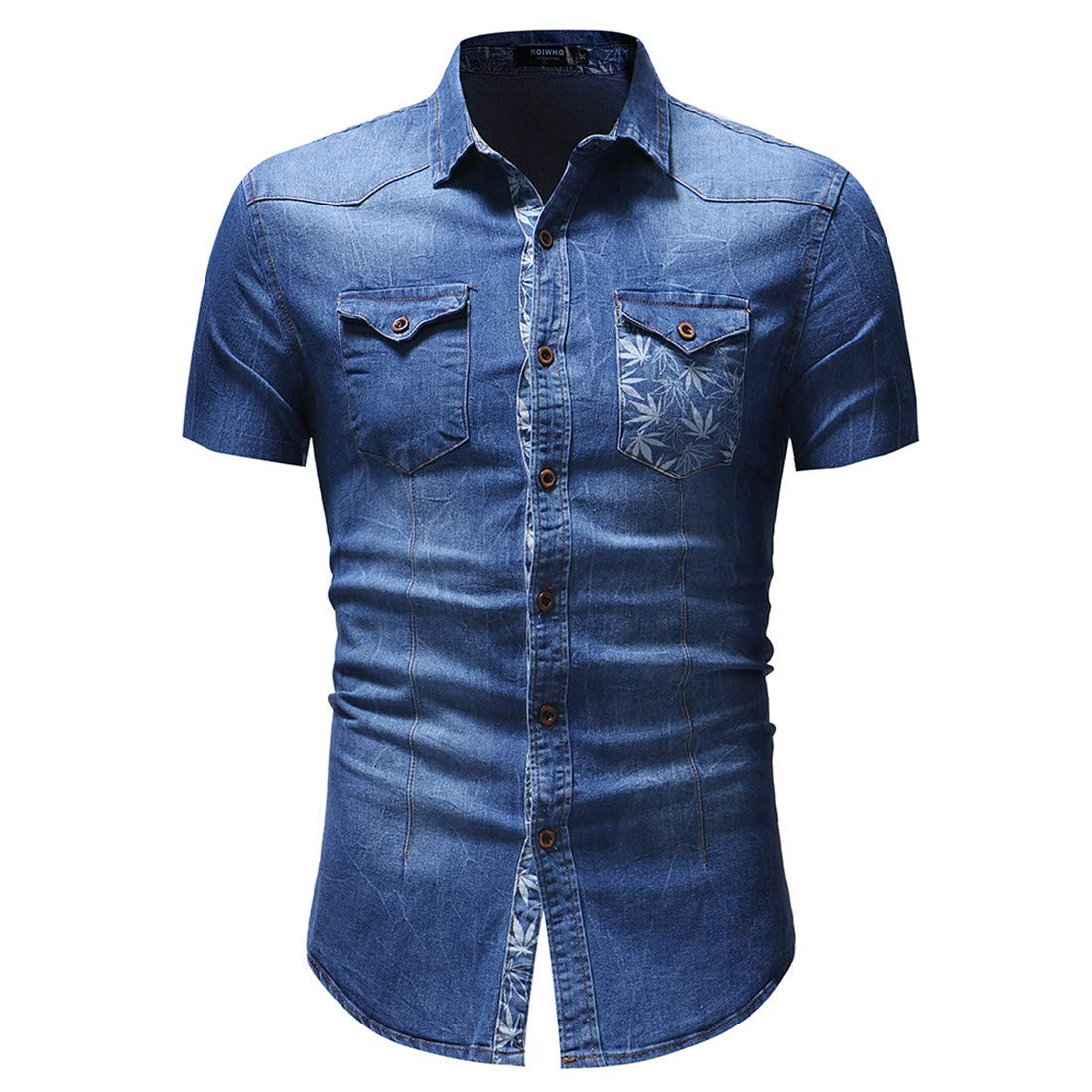 ONLYWOOD Mens Short Sleeve Printed Button Down Causal Slim Fit Denim Shirts