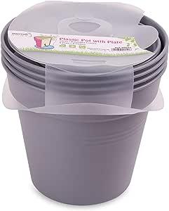 وعاء زرع بلاستيك بالطبق من مينترا، 13سم، عبوة 4، رمادي