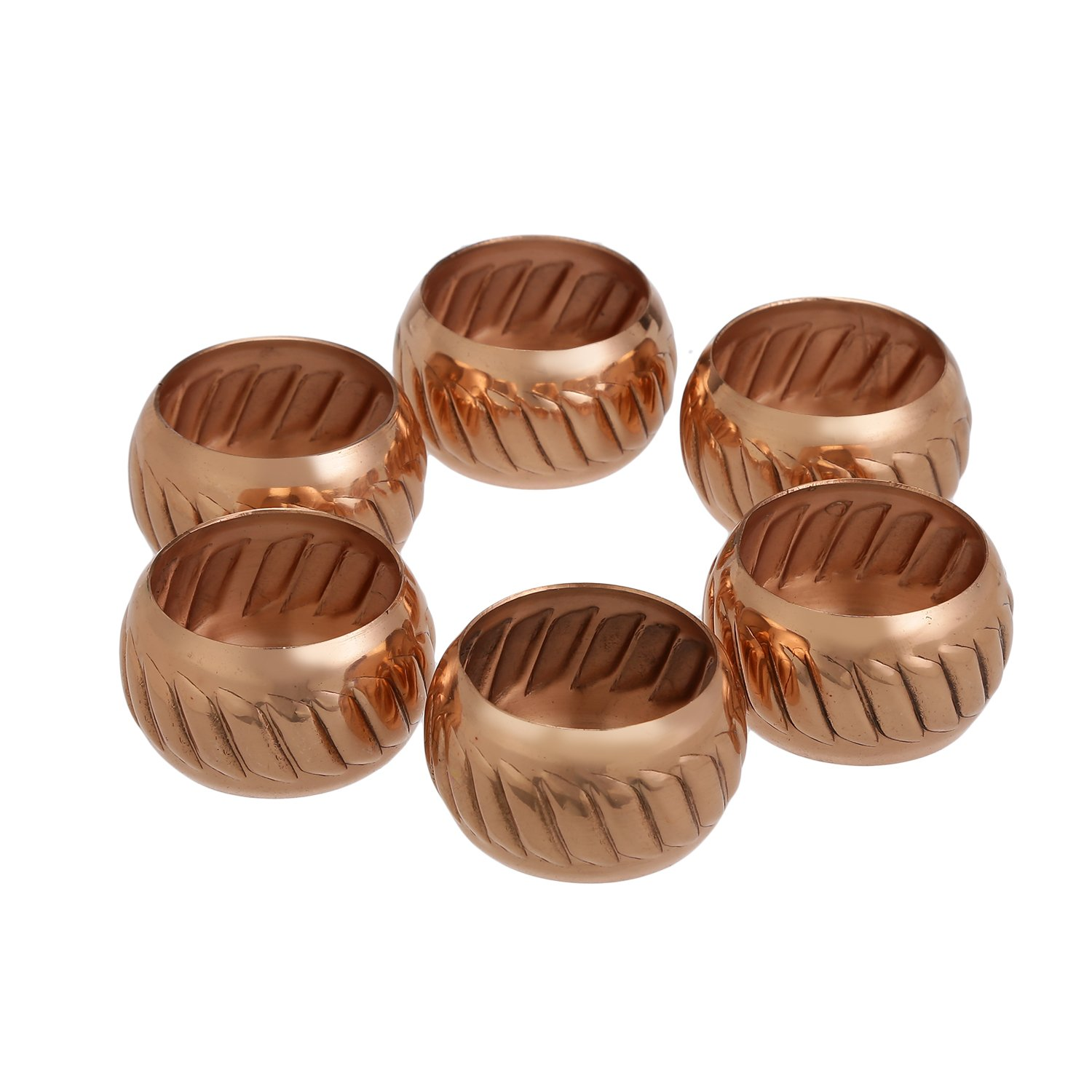 Parties Everyday Use ShalinIndia Copper Napkin Rings Holder Weddings,Dinners Set of 6,Light Weight 40 Grams,Diameter-1.5 Inch Shalincraft MN-copper-NR-101-S6