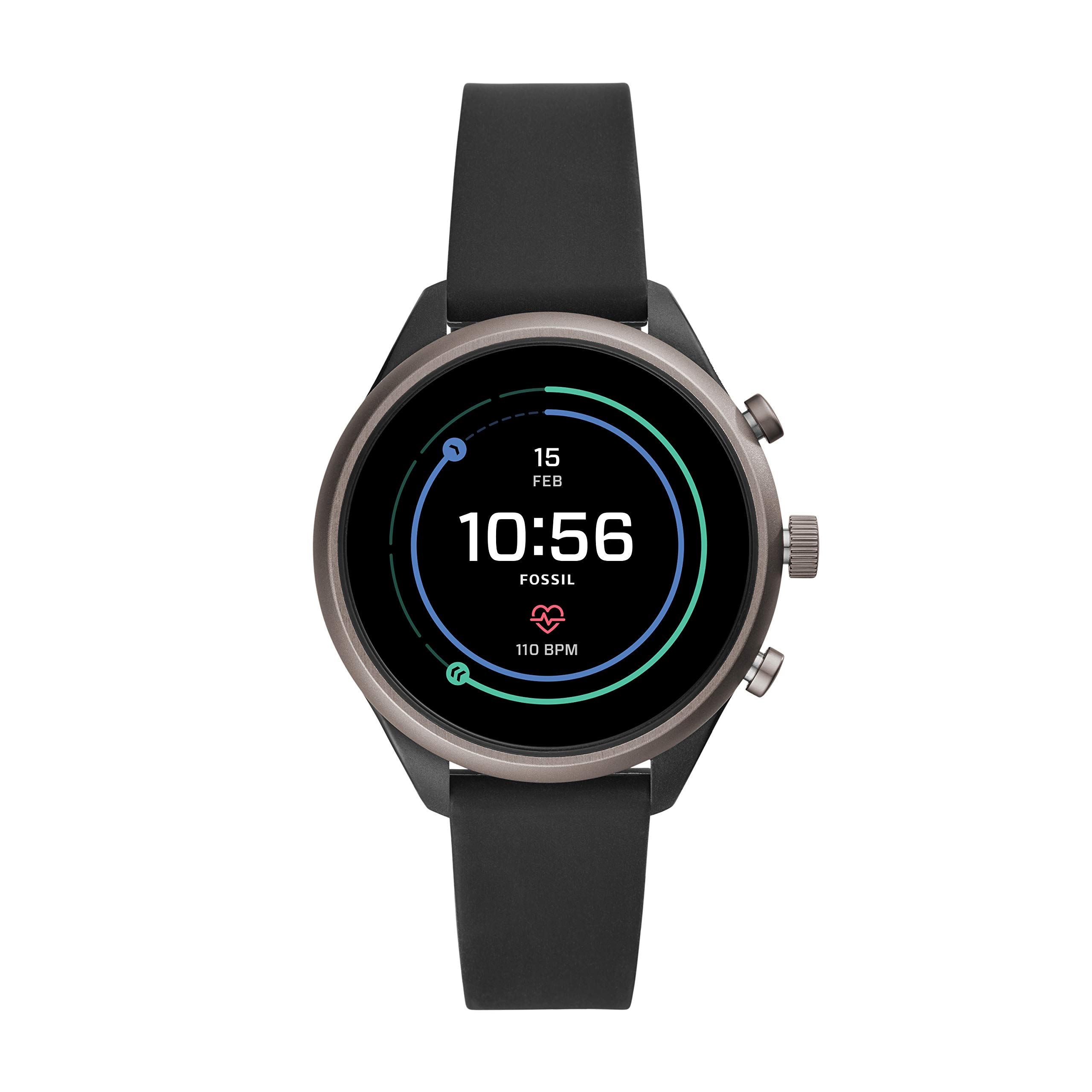 Fossil Women's Gen 4 Sport Heart Rate Metal and Silicone Touchscreen Smartwatch, Color: Grey, Black (FTW6024)