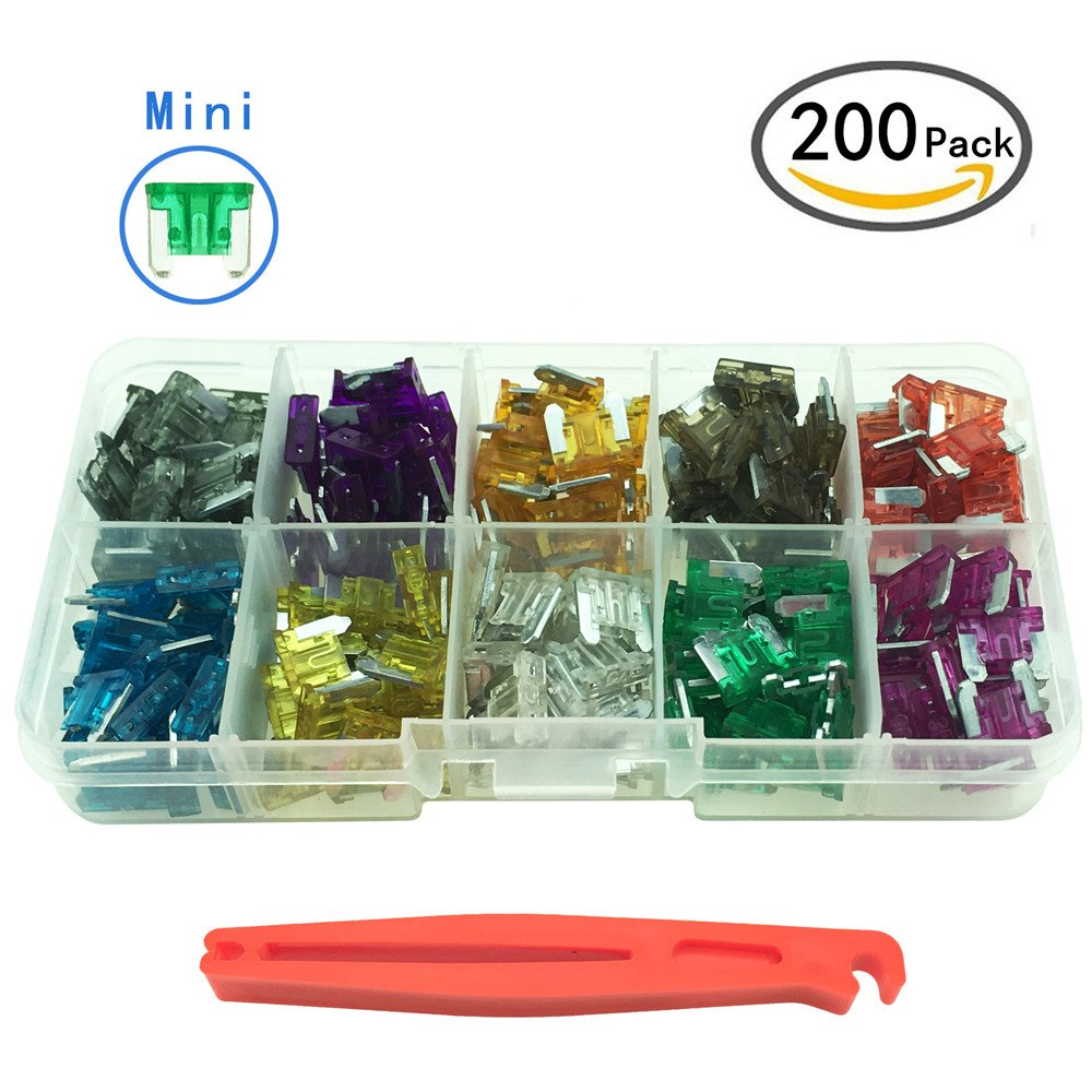 YOLISTIC 200Pcs Car Blade Fuse Replacement Kit (2A 3A 5A 7.5A 10A 15A 20A 25A 30A 35A) include Fuses Puller (Mini)