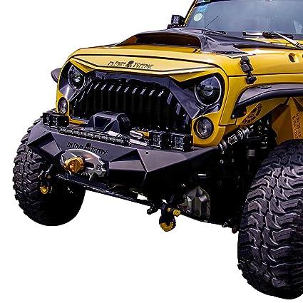 20c6f6b66ee8 Amazon.com  TOPFIRE Front Bumper Minimalist Type Fury Series for 2007-2017  Jeep Wrangler JK (Black)  Automotive