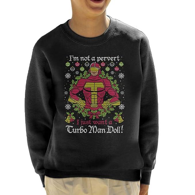 Turbo Man Not A Pervert Jingle All The Way Christmas Knit Pattern Kids Sweatshirt