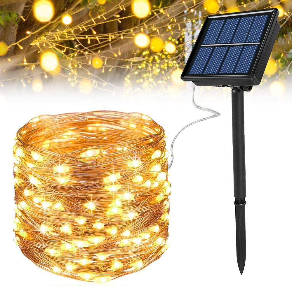 Ankway Solar Fairy Lights Outdoor Waterproof, 72ft/22m 200 LED Solar String Lights 8 Modes Copper Wire Fairy Lights Decorative String Lights for Garden, Patio, Gate, Yard, Wedding, Party (Warm White)