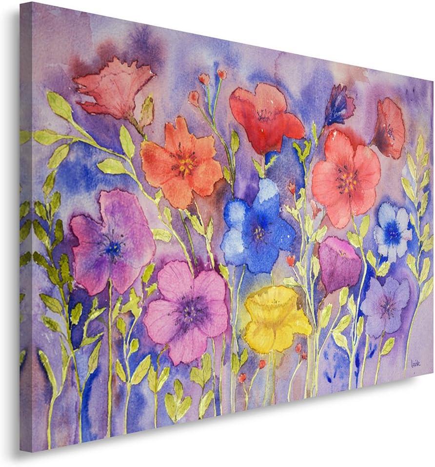 Feeby Frames, Cuadro en lienzo, Cuadro impresión, Cuadro decoración, Canvas de una pieza, 30x40 cm, FLORES, LAVANDA, NATURALEZA, MORADO, ROJO, AMARILLO, ARTE, COLOR
