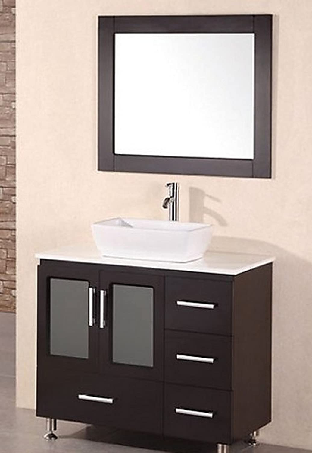 design element stanton single drop in sink vanity set with white finish 32 inch amazoncom
