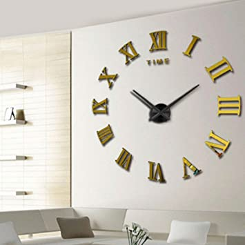 Amazon.com : Modern Design DIY 3D Big Wall Clock Home Decor Quartz Horloge Wall Watch Stickers Reloj De Pared Acrylic Mirror Clocks 20 Inch (Gold Color) : ...